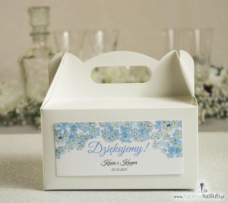 PDC-105 Kwiatowe pudełka na ciasta - podziękowania dla gości w formie pudełek na ciasto z motywem kwiatów niezapominajki - Zaproszenia ślubne na ś