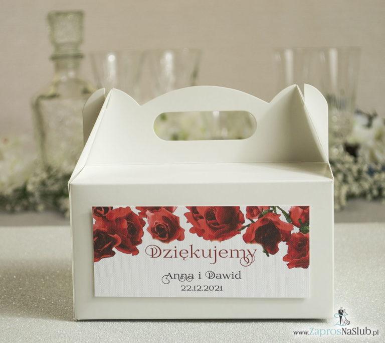 PDC-106 Kwiatowe pudełka na ciasta - podziękowania dla gości w formie pudełek na ciasto z motywem kwiatów róży - Zaproszenia ślubne na ślub