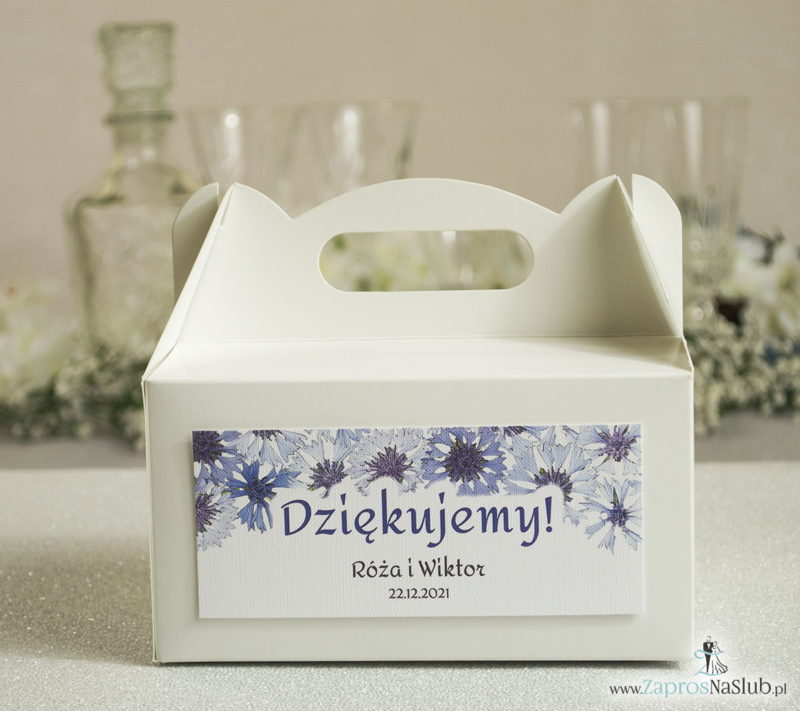 PDC-108 Kwiatowe pudełka na ciasta - podziękowania dla gości w formie pudełek na ciasto z motywem kwiatów bratków - Zaproszenia ślubne na ślub