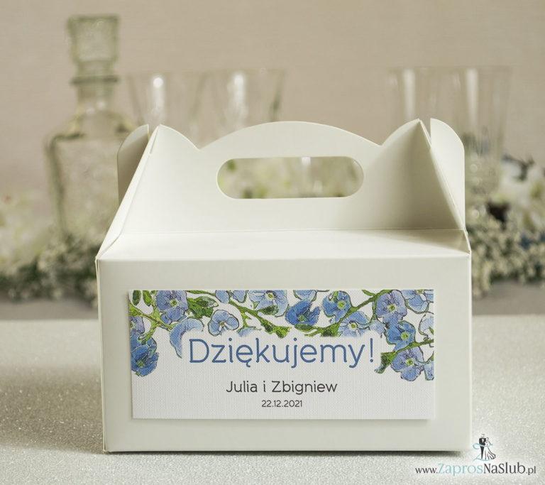 ZaprosNaSlub - Zaproszenia ślubne, personalizowane, boho, rustykalne, kwiatowe księga gości, zawieszki na alkohol, winietki, koperty, plany stołów - Kwiatowe pudełka na ciasta – podziękowania dla gości w formie pudełek na ciasto z motywem zielono-niebieskich kwiatów
