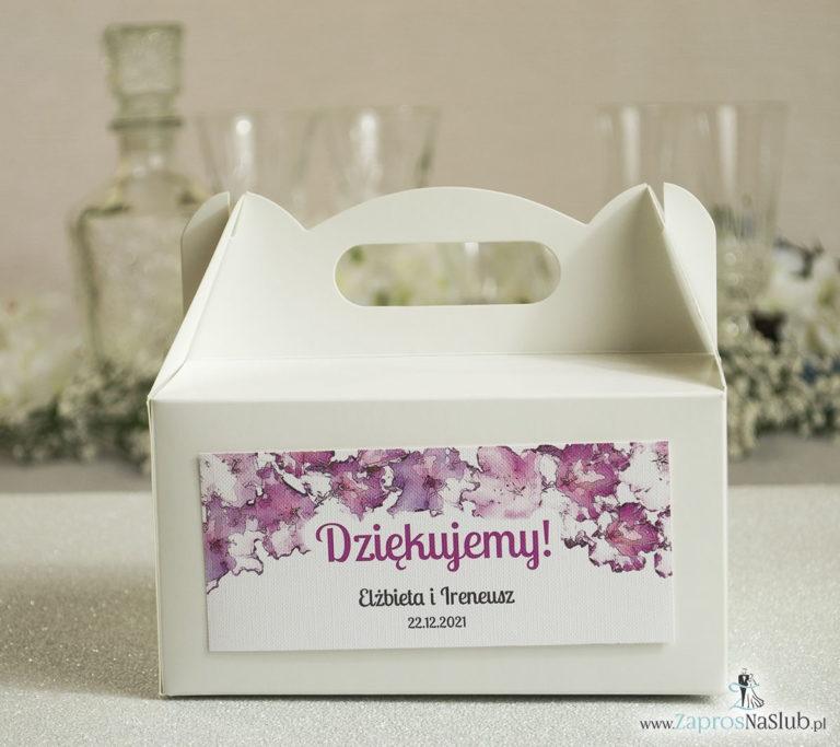 Kwiatowe pudełka na ciasta – podziękowania dla gości w formie pudełek na ciasto z motywem kwiatów rododendronu - ZaprosNaSlub