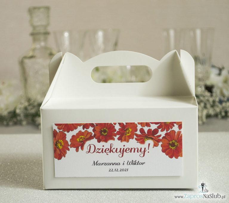 Kwiatowe pudełka na ciasta - podziękowania dla gości w formie pudełek na ciasto z motywem kwiatów gerbera