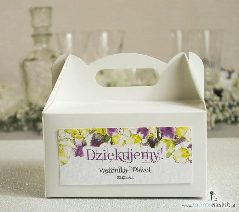 Kwiatowe pudełka na ciasta – podziękowania dla gości w formie pudełek na ciasto z motywem kwiatów irysów - ZaprosNaSlub