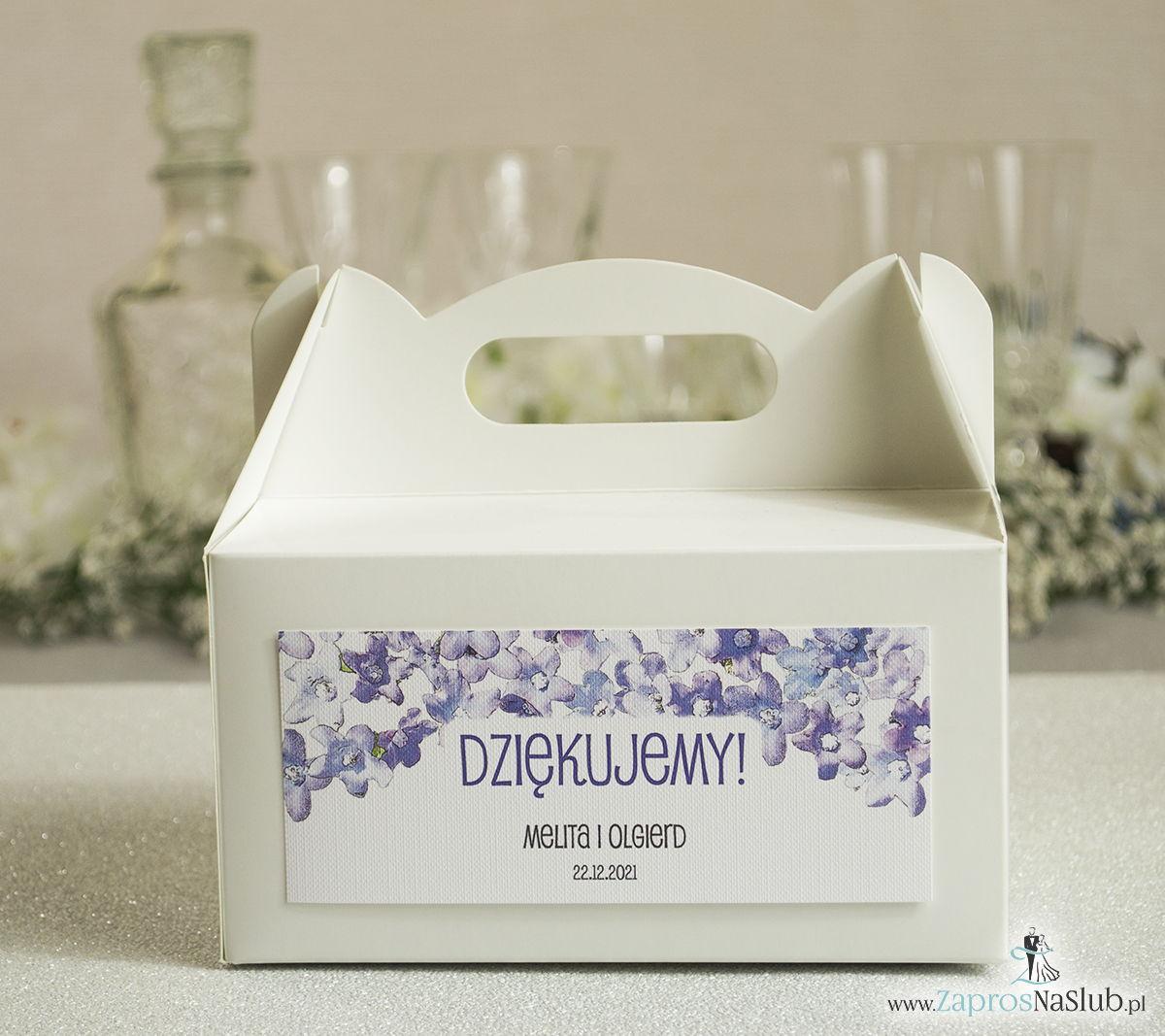 Kwiatowe pudełka na ciasta - podziękowania dla gości w formie pudełek na ciasto z motywem polnych kwiatów