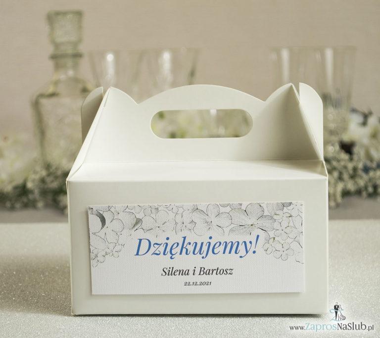 Kwiatowe pudełka na ciasta – podziękowania dla gości w formie pudełek na ciasto z motywem kwiatów kaliny - ZaprosNaSlub