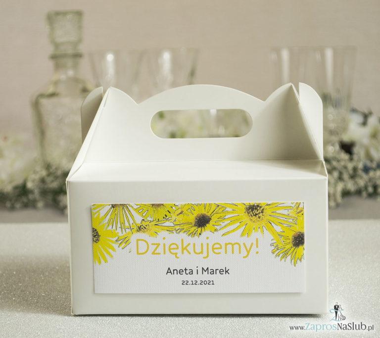 Kwiatowe pudełka na ciasta – podziękowania dla gości w formie pudełek na ciasto z motywem kwiatów słonecznika - ZaprosNaSlub