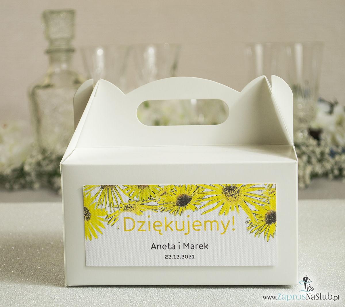 Kwiatowe pudełka na ciasta - podziękowania dla gości w formie pudełek na ciasto z motywem kwiatów słonecznika
