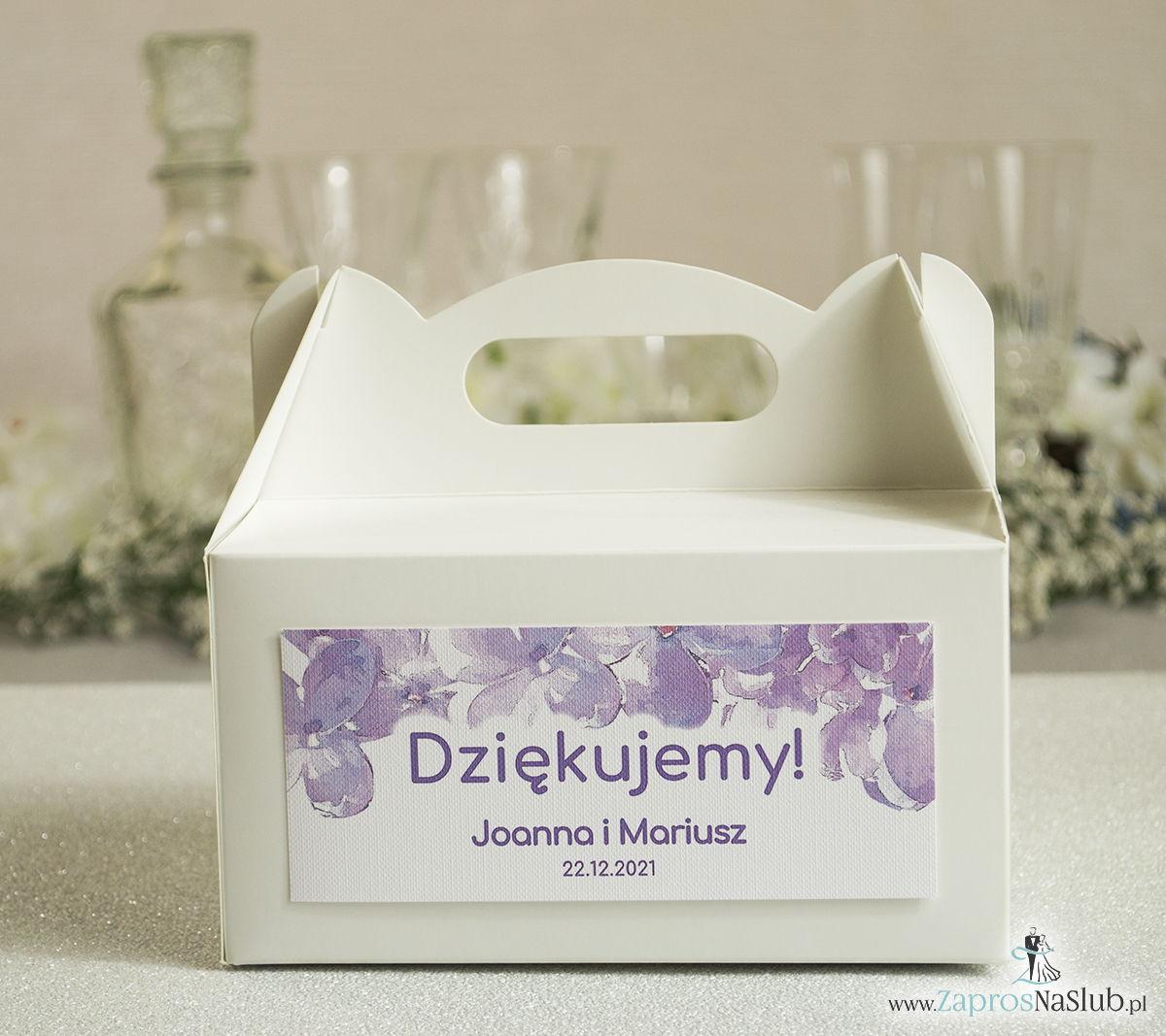 Kwiatowe pudełka na ciasta - podziękowania dla gości w formie pudełek na ciasto z motywem kwiatów bzu