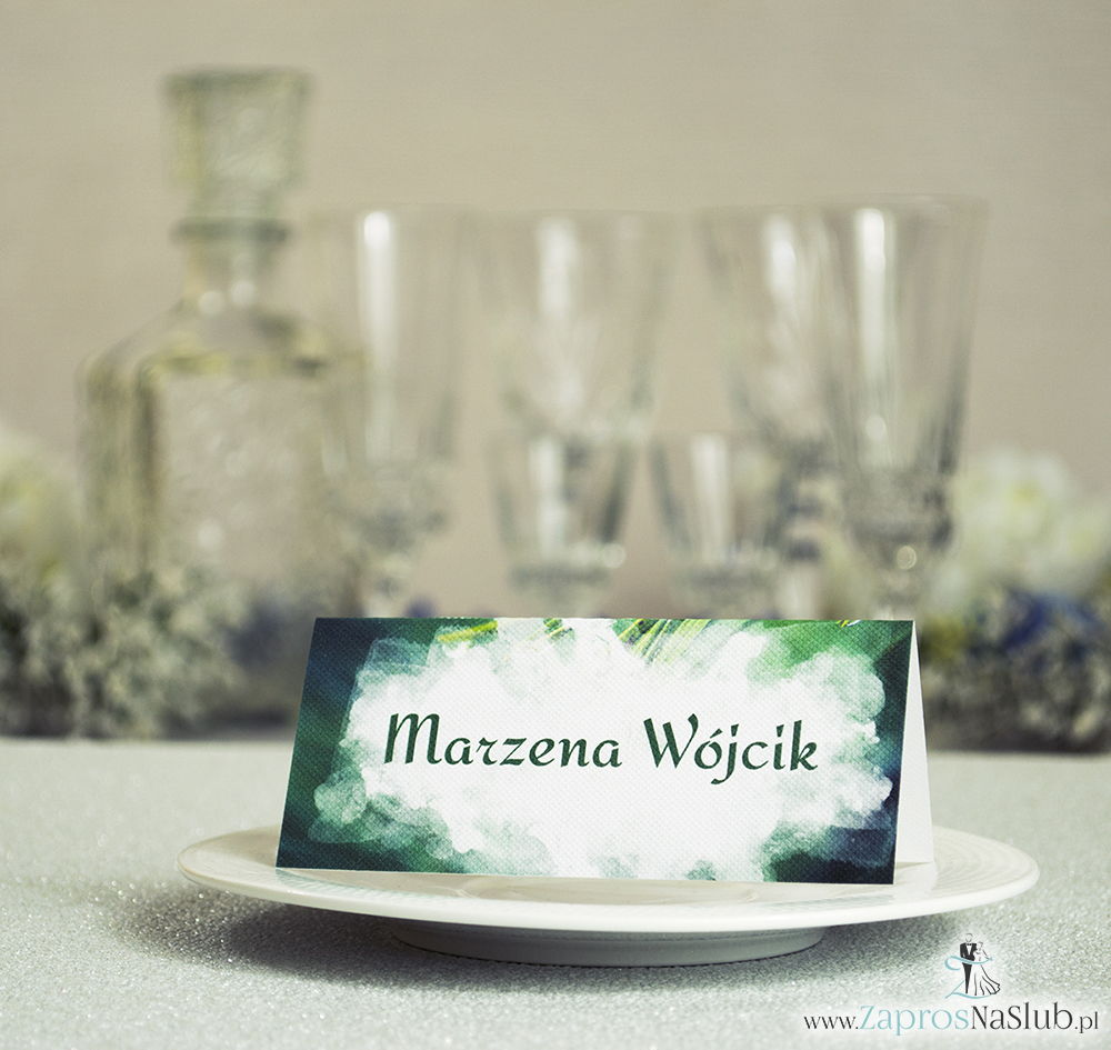 Letnie winietki ślubne z zielonymi igłami jodły