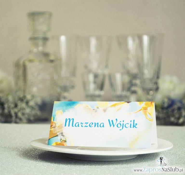ZaprosNaSlub - Zaproszenia ślubne, personalizowane, boho, rustykalne, kwiatowe księga gości, zawieszki na alkohol, winietki, koperty, plany stołów - Wiosenne winietki ślubne z żółtymi kwiatami forsycji na tle błękitnego nieba