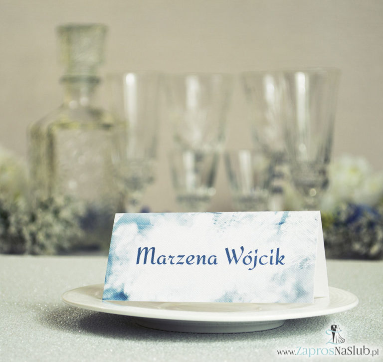 Zimowe winietki ślubne z biało-szaro-srebrnymi płatkami śniegu - ZaprosNaSlub