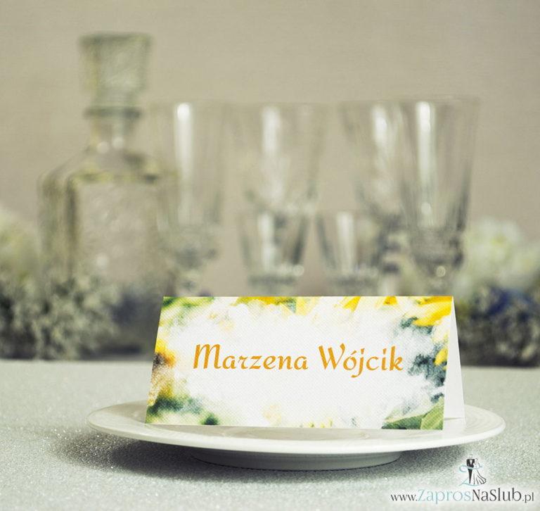 Letnie winietki ślubne z żółtymi kwiatami słoneczników - ZaprosNaSlub