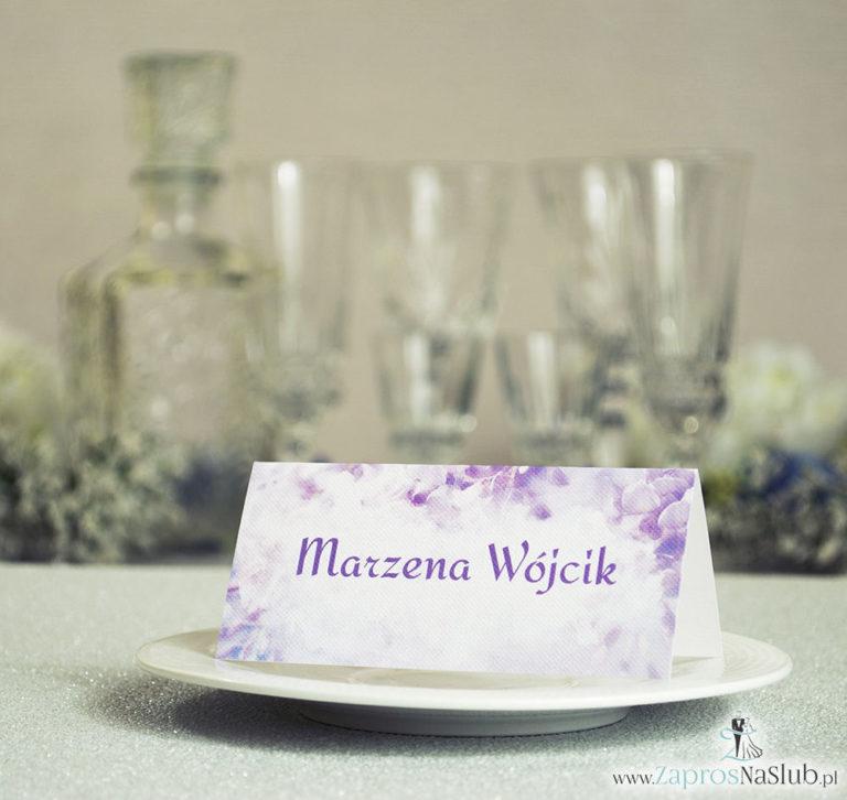 Wiosenne winietki ślubne z różowymi kwiatami łubinu - ZaprosNaSlub