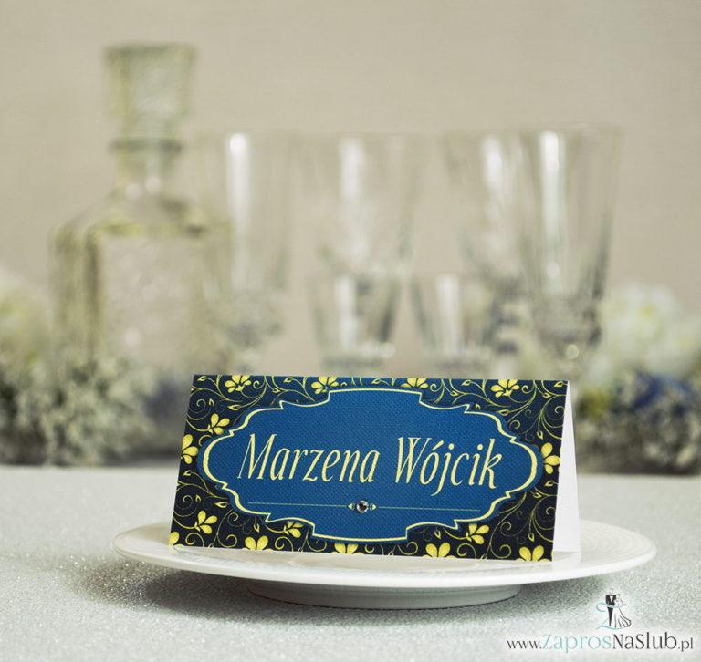 Eleganckie winietki ślubne z żółto-zielonym ornamentem roślinnym i cyrkonią - ZaprosNaSlub