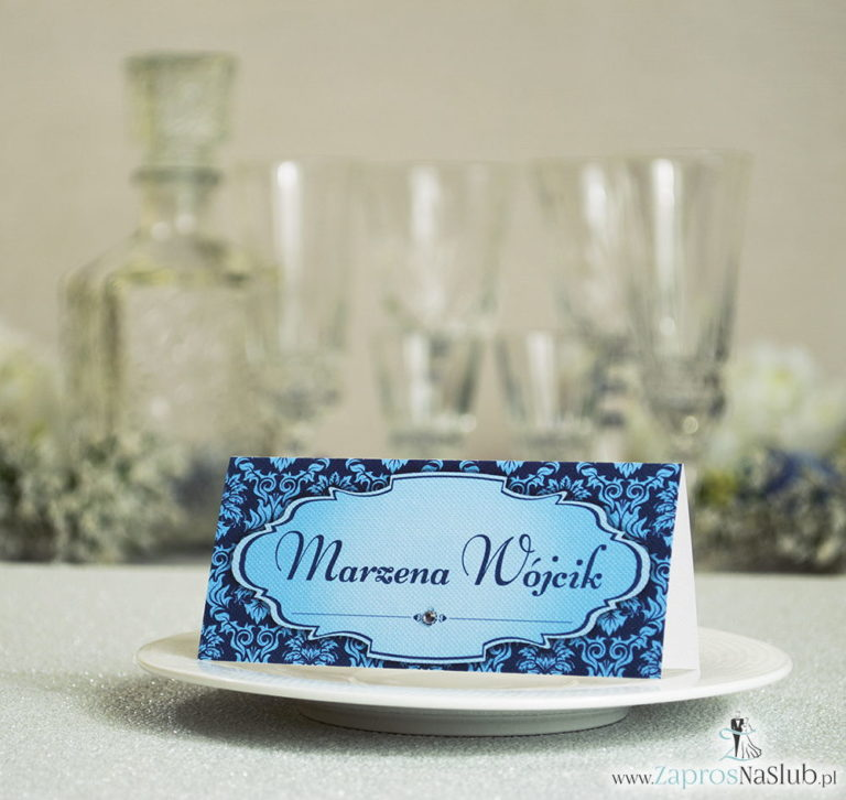 Eleganckie winietki ślubne z niebieskim barokowym ornamentem i cyrkonią - ZaprosNaSlub