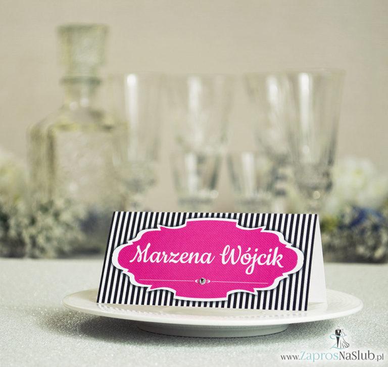 ZaprosNaSlub - Zaproszenia ślubne, personalizowane, boho, rustykalne, kwiatowe księga gości, zawieszki na alkohol, winietki, koperty, plany stołów - Eleganckie winietki ślubne z czarno-białymi paskami i cyrkonią