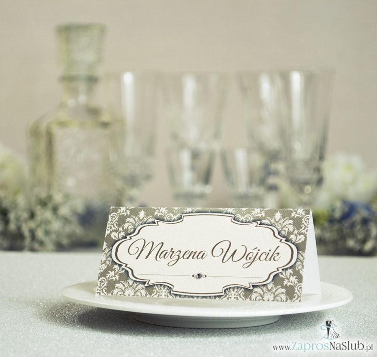 Eleganckie winietki ślubne z brązowo-kremowym ornamentem i cyrkonią - ZaprosNaSlub