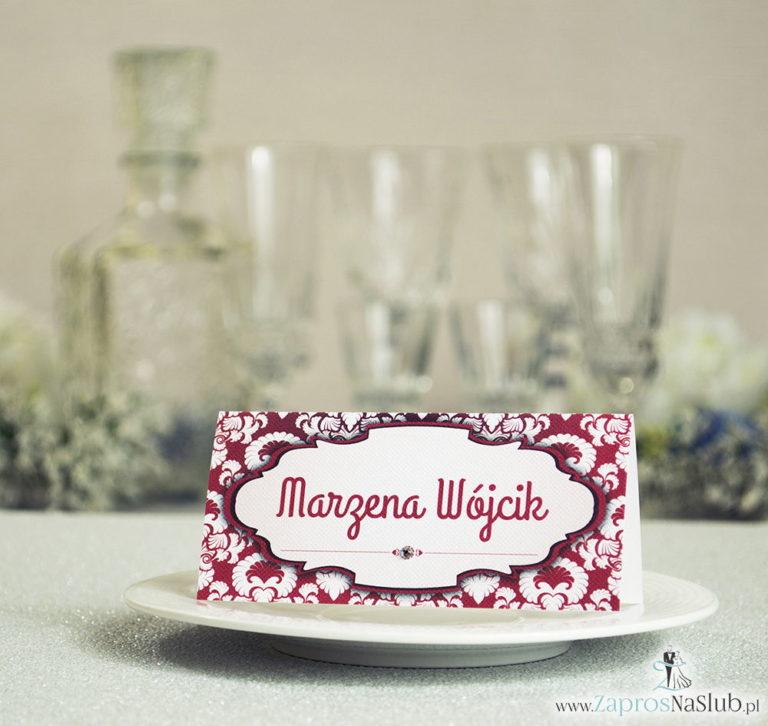 ZaprosNaSlub - Zaproszenia ślubne, personalizowane, boho, rustykalne, kwiatowe księga gości, zawieszki na alkohol, winietki, koperty, plany stołów - Eleganckie winietki ślubne z czerwono-białym ornamentem i cyrkonią