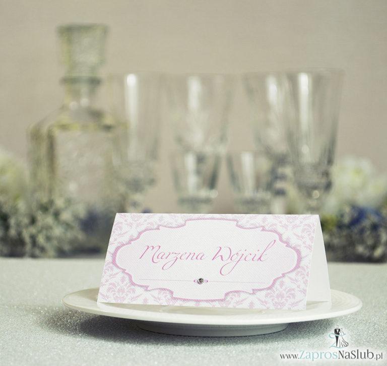 Eleganckie winietki ślubne z różowym barokowym damaskiem i cyrkonią - ZaprosNaSlub