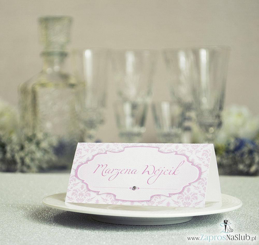 Eleganckie winietki ślubne z różowym barokowym damaskiem i cyrkonią