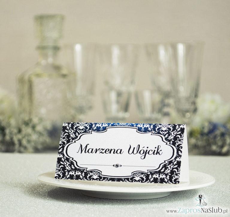 Eleganckie winietki ślubne z czarno-białym eleganckim damaskiem i cyrkonią