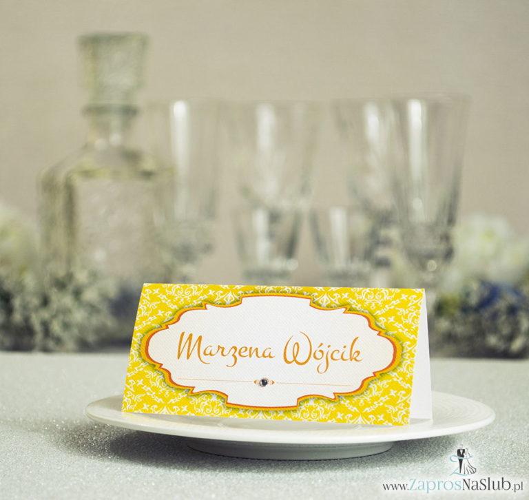 Eleganckie winietki ślubne z żółto-białym ornamentem i cyrkonią - ZaprosNaSlub