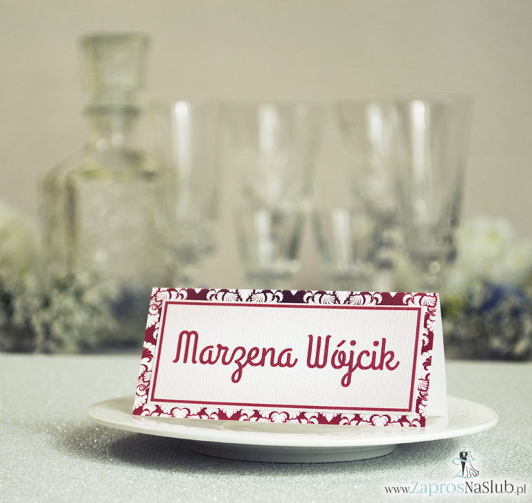 ZaprosNaSlub - Zaproszenia ślubne, personalizowane, boho, rustykalne, kwiatowe księga gości, zawieszki na alkohol, winietki, koperty, plany stołów - Eleganckie winietki ślubne z czerwono-białym ornamentem, umieszczonym pod naklejonym motywem tekstowym