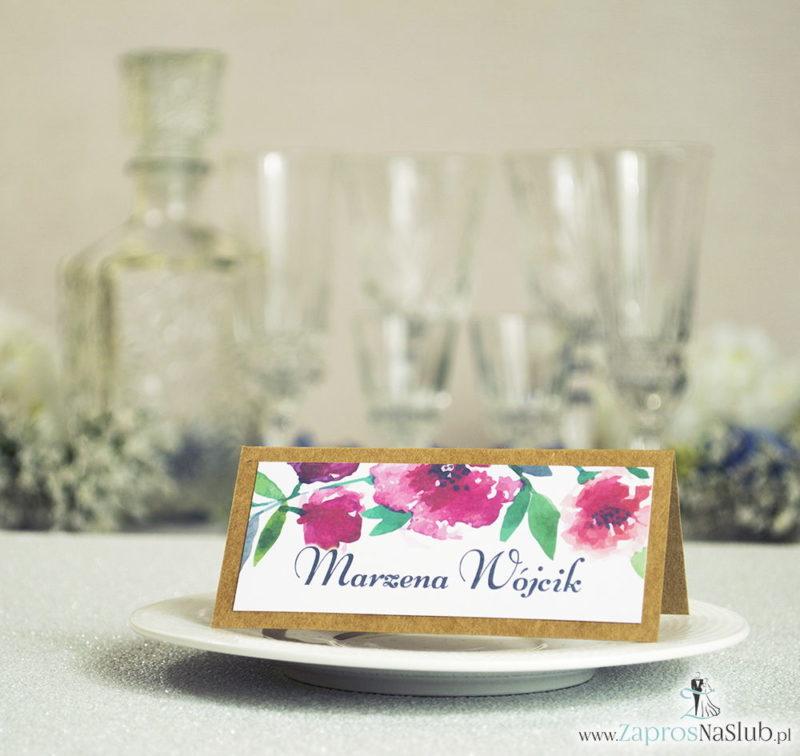 WIN-2704 Kwiatowe winietki ślubne eko – składane na pół winietki z polnymi kwiatami – makami i chabrami - Zaproszenia ślubne na ślub