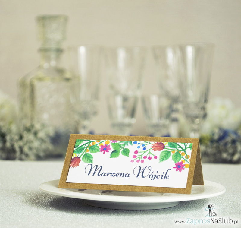 WIN-2710 Kwiatowe winietki ślubne eko - składane na pół winietki z wielobarwnymi, wiosennymi kwiatami i liśćmi - Zaproszenia ślubne na ślub
