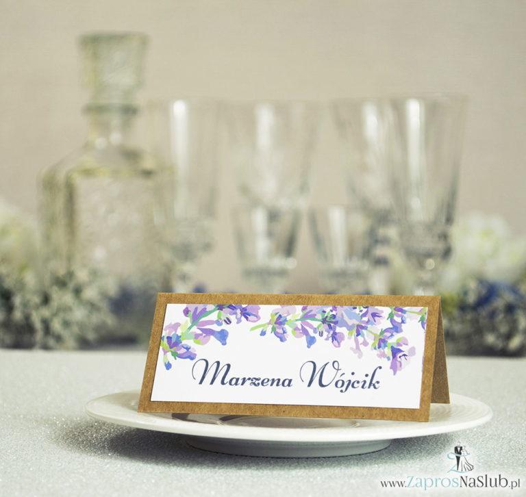 Kwiatowe winietki ślubne eko – składane na pół winietki z jesiennymi wrzosami - ZaprosNaSlub