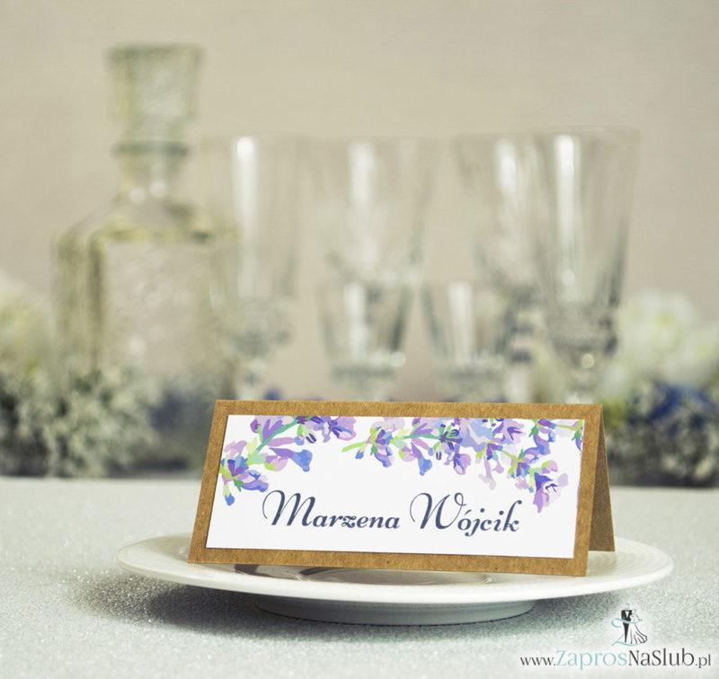 WIN-2711 Kwiatowe winietki ślubne eko - składane na pół winietki z jesiennymi wrzosami - Zaproszenia ślubne na ślub