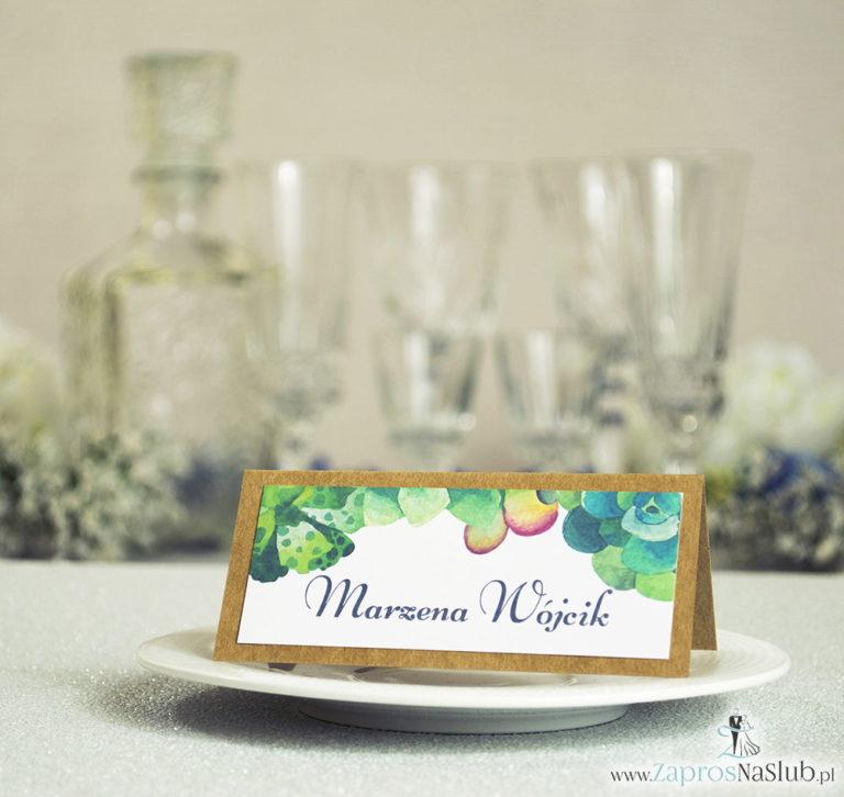 ZaprosNaSlub - Zaproszenia ślubne, personalizowane, boho, rustykalne, kwiatowe księga gości, zawieszki na alkohol, winietki, koperty, plany stołów - Kwiatowe winietki ślubne eko – składane na pół winietki z kilkoma rodzajami sukulentów
