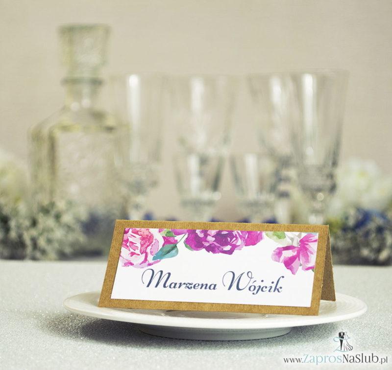 WIN-2716 Kwiatowe winietki ślubne eko - składane na pół winietki z kwiatami róży - Zaproszenia ślubne na ślub