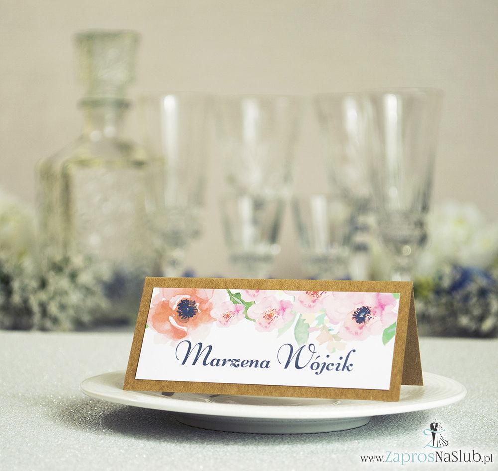 Kwiatowe winietki ślubne eko - składane na pół winietki z pięknymi kwiatami maków