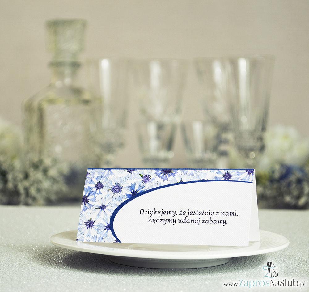Kwiatowe winietki ślubne - składane na pół winietki z kwiatami chabrów, prostokątem oraz malowaną kokardką