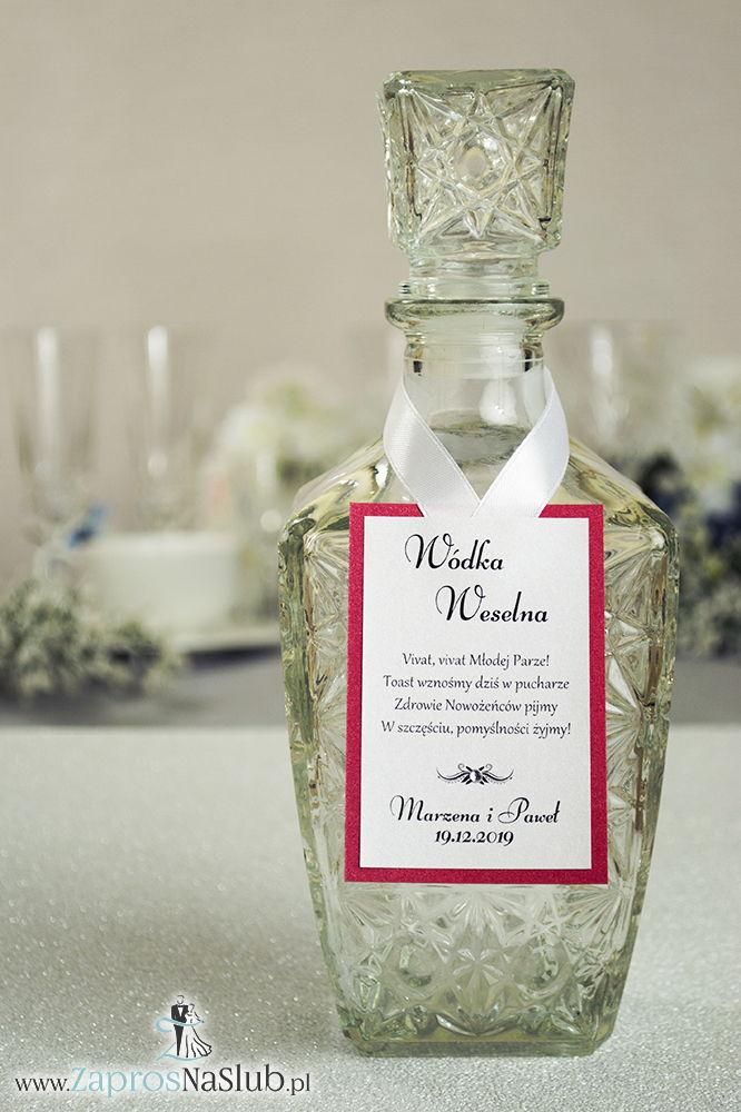 ZAW-2580 Bardzo eleganckie zawieszki na alkohol z czerwonym papierem perłowym, przyklejanym motywem tekstowym i białą wstążką - Zaproszenia ślubne na ślub