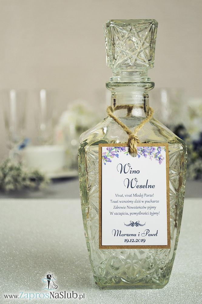 Eleganckie zawieszki na alkohol eko z jesiennymi wrzosami, przyklejanym motywem tekstowym i sznurkiem jutowym - ZaprosNaSlub