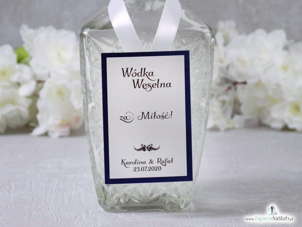 Zawieszki weselne na wódkę niebieskie eleganckie, perłowe ZAW-2586