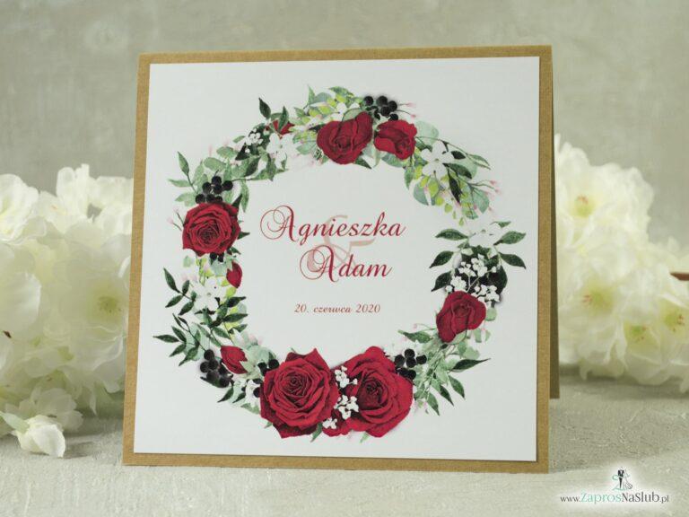 Zaproszenie ślubne eko z przyklejanym motywem tekstowym z czerwonymi różami oraz białymi makami ZAP-38-01-min