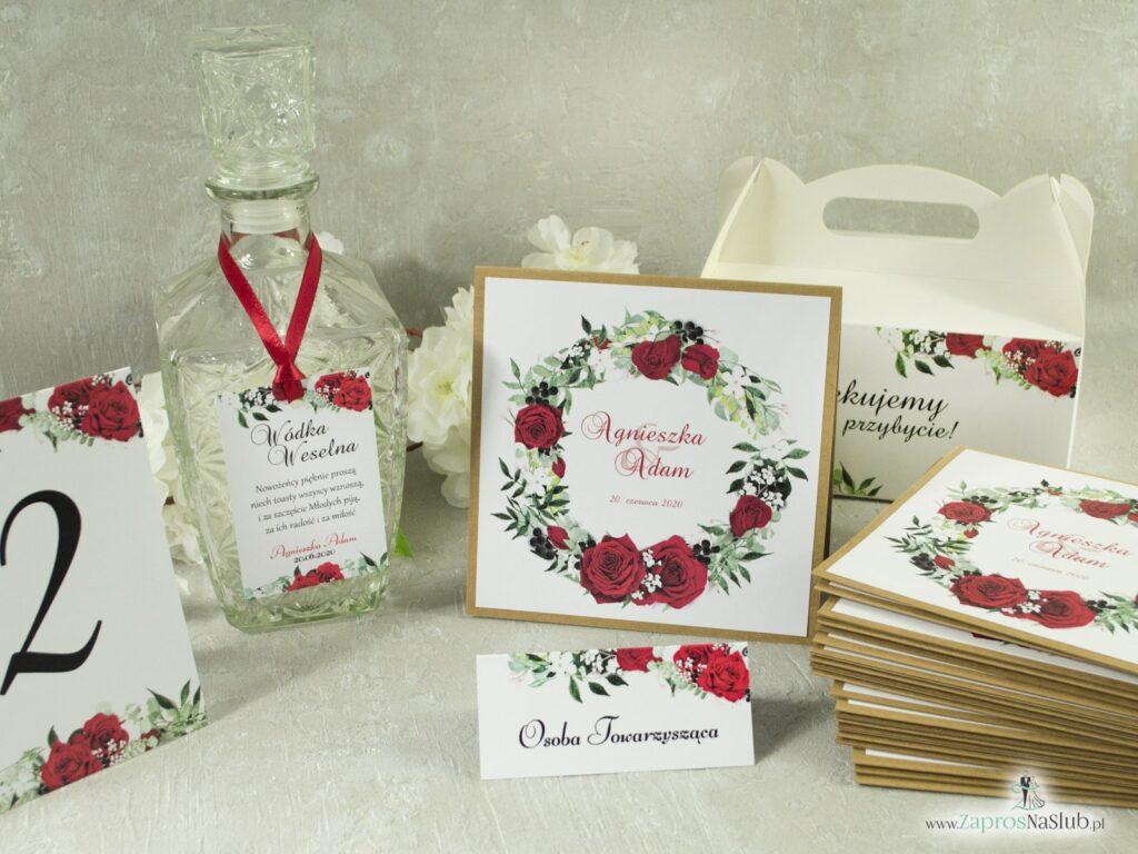Zestaw ślubny, galanteria papiernicza, eko kwiaty róży, białe maki, liście zielone -min