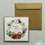 kwiatowe zaproszenia ślubne eko z wiankami sznurkiem jutowym czerwone róże białe maki zielone liście