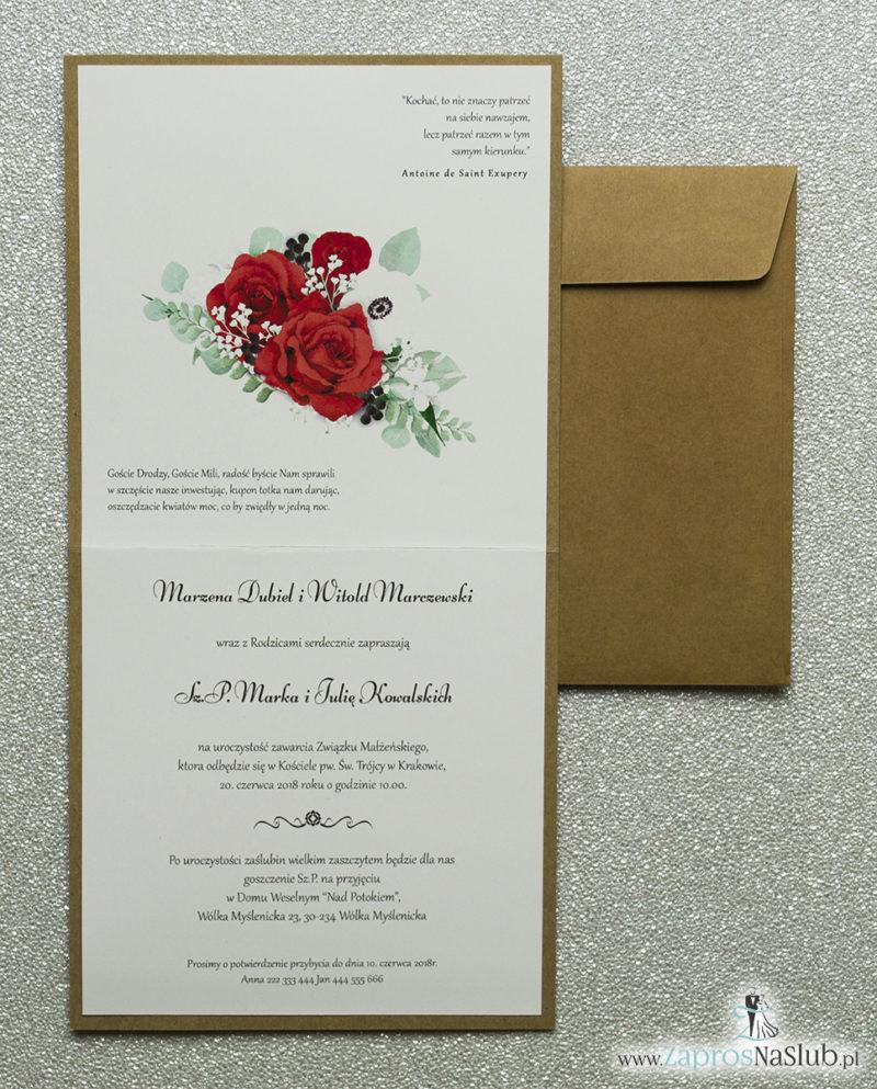 kwiatowe zaproszenia ślubne eko z wiankami sznurkiem jutowym czerwone róże białe maki zielone liście wnętrze