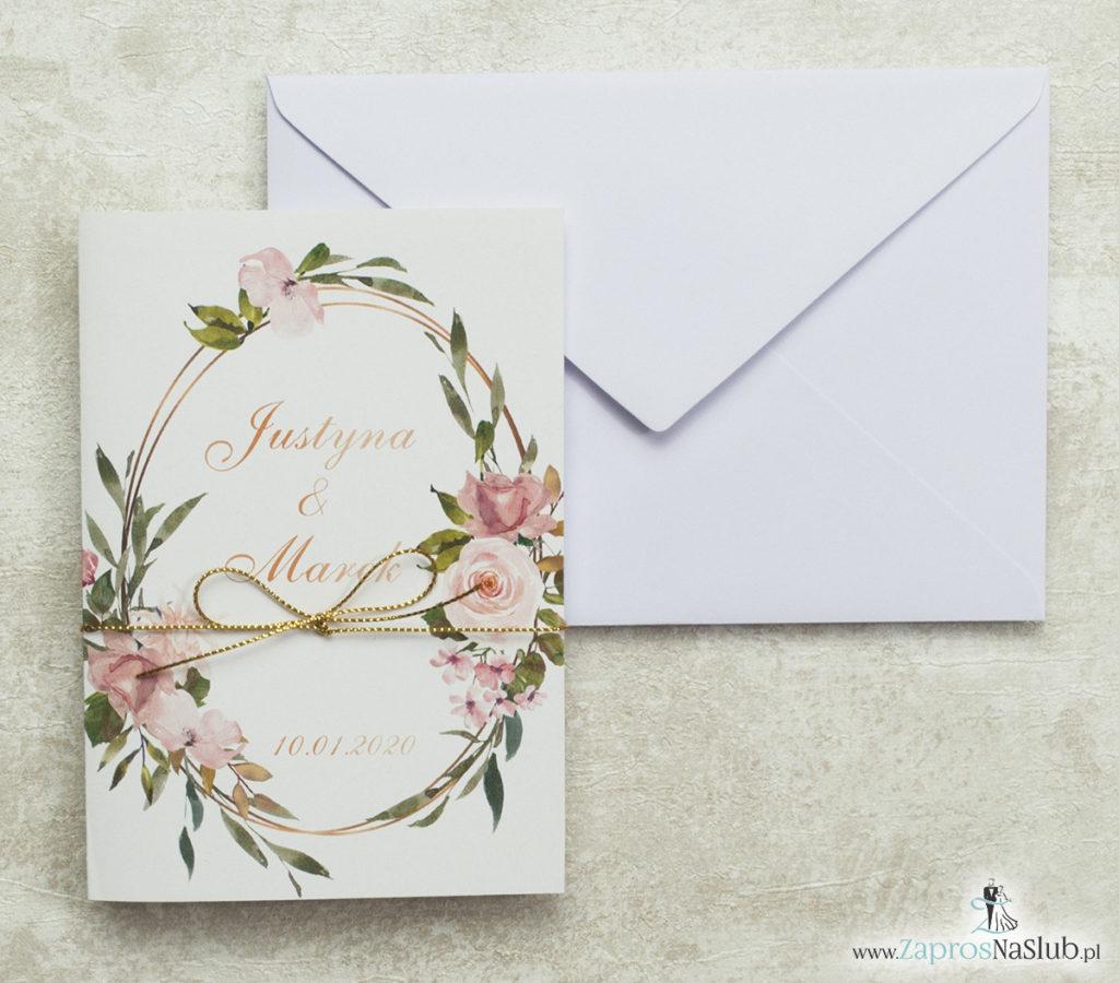 geometryczne-zaproszenia-ślubne-kwiatowe-złoty-sznurek-róże-elipsy-biała-koperta