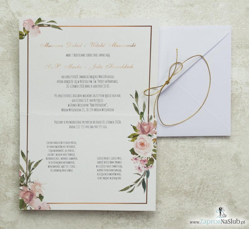 geometryczne-zaproszenia-ślubne-kwiatowe-złoty-sznurek-róże-elipsy-biała-koperta-wnętrze