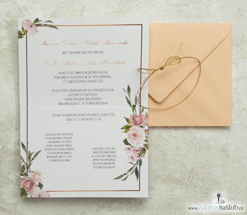 geometryczne-zaproszenia-ślubne-z-elipsą-różami-i-morelową-kopertą-oraz-złotym-sznurkiem-metalizowanym-wnętrze