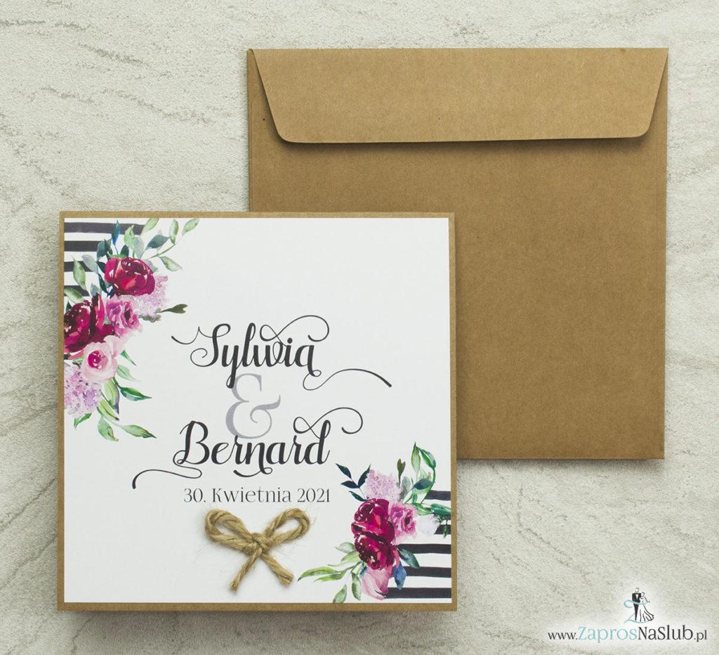 kwiatowe-zaproszenia-ślubne-eko-ze-sznurkiem-jutowym-i-papierem-kredowym-wklejane-wnętrze-czarne-pasy-różowe-kwiaty-koperta-eko