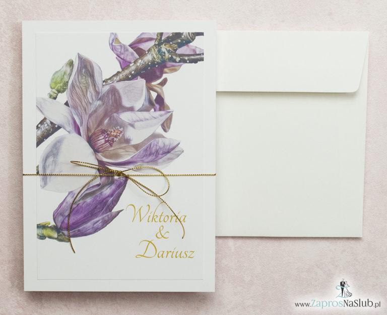 kwiatowe-zaproszenia-ślubne-z-magnolią-i-złotym-sznurkiem-format-a5