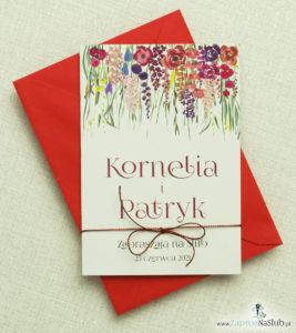 kwiatowe-zaproszenia-slubne-z-polnymi-kwiatami-malwa-makami-zielona-trawa-czerwonym-metalizowanym-sznurkiem-i-czerwona-koperta