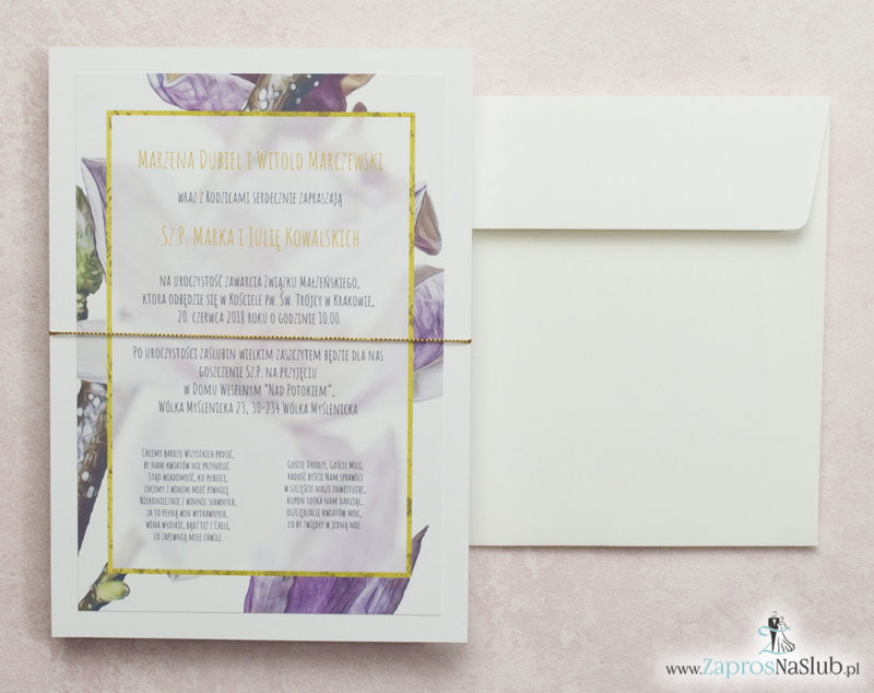modne-zaproszenia-ślubne-z-kwiatami-magnolii-i-złotym-sznurkiem