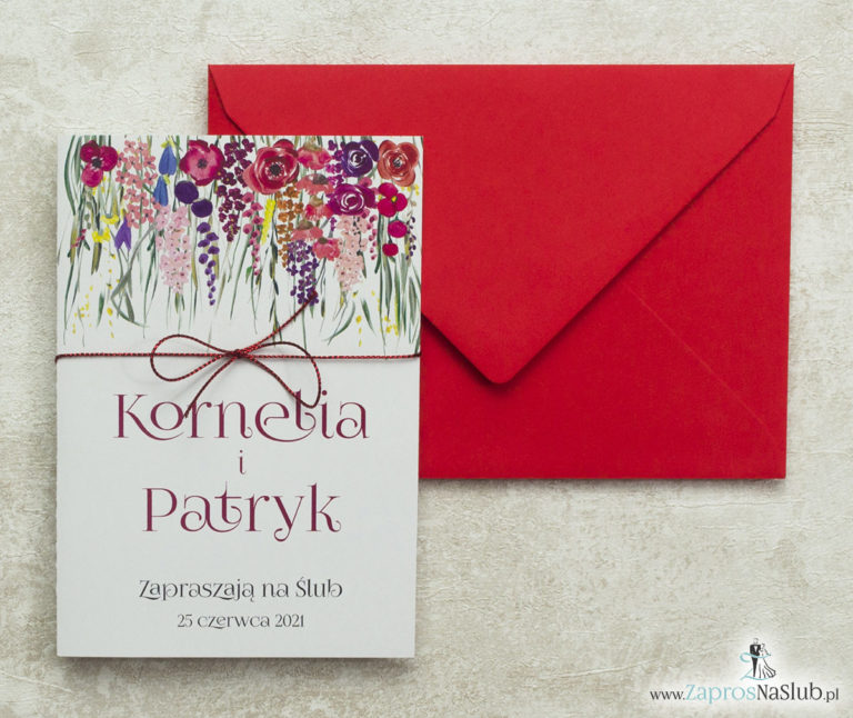 nowoczesne-kwiatowe-zaproszenia-ślubne-z-czerwonym-metalizowanym-sznurkiem-i-czerwonym-sznurkiem